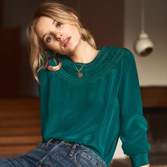 0d645056e3f27 👗NWT Sezane Tatiana Blouse Green Silk Embroidered